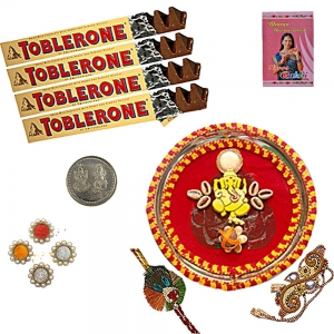 Ethnic Rakhi Thali n 100Gm Swiss Chocolate Box 102