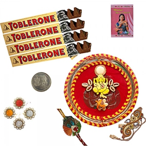 Ethnic Rakhi Thali n 200Gm Swiss Chocolate Pack 102