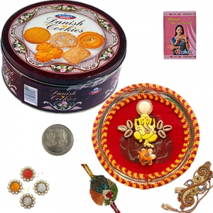 Rakhi Pooja Thali n Imported Chocolate Cookie Box 105