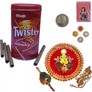 Rakhi Thali n Twister Strawberry Wafer Sticks 106