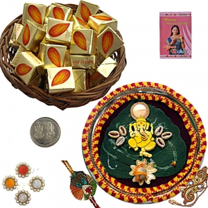 Rakhi Pooja Thali n 300Gm Butter Chocolate Box 108