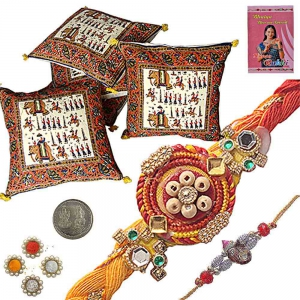 Handblock Cushion Cover Set n Ethnic Rakhi Gift 303
