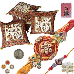 Cushion Cover n Ethnic Rakhi with 400Gm Kaju Katli 303