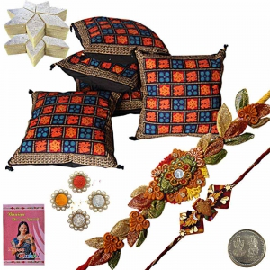 Hand Block Cushion Cover n Designer Rakhi Gift 305