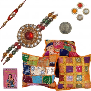 Send Cotton Cushion Cover n Excellent Rakhi Gift 402