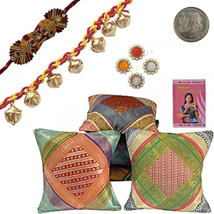 Brocade Cushion Cover Set Beautiful Rakhi Gift 411