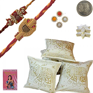 Zari Cushion Cover Rakhi Gift n 200Gm Kaju Katli 417
