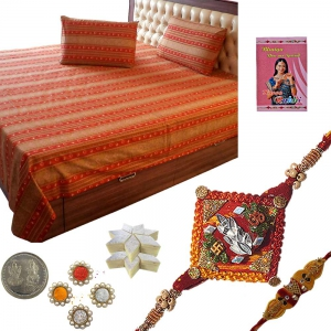 Send Gold Print Double Bed Sheet n Mauli Rakhi 502