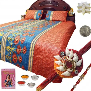 Cotton Double Bed Sheet and Exclusive Rakhi Gift