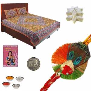 Double Bedsheet with 200Gm Kaju Katli n Rakhi Gift 614
