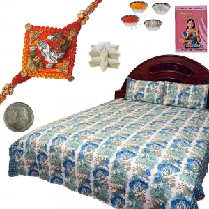 Jaipuri Double Bed Sheet and Rakhi 200Gm Kaju Katli
