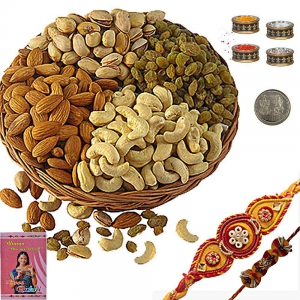 Buy Cute Mauli Rakhi n 200Gm Selected Dryfruit Box 104