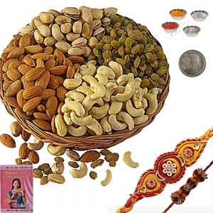 Buy Cute Mauli Rakhi n 400Gm Selected Dryfruit Box 104
