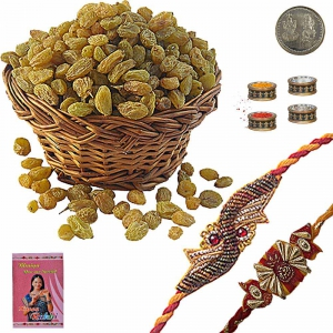 Designer Mauli Rakhi n Fresh 200Gm Raisins Pack 105