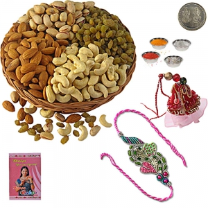 Send Bhaiya Bhabhi Rakhi n Selected Dryfruits 110