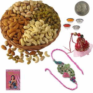 Bhaiya Bhabhi Rakhi n 200Gm Selected Dryfruits 110