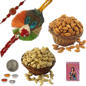 Send Jewel Rakhee n 400Gm Cashew Nuts Almond Box 211
