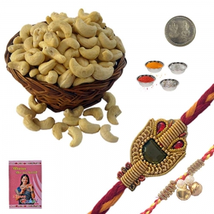 Fancy Mauli Rakhi n Cashew Nuts Dry Fruit Gift 232