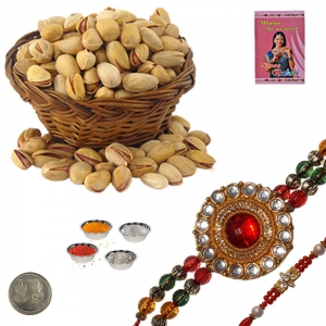 Exclusive Jewel Rakhi n Fresh Pistachio Gift Box 233