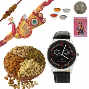 Send Fancy Mauli Rakhi Dry Fruit n Men Wrist Watch 234