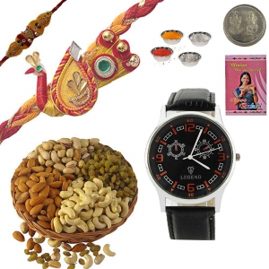 Mauli Rakhi n Mens Wrist Watch 200Gm Dryfruit Box 234