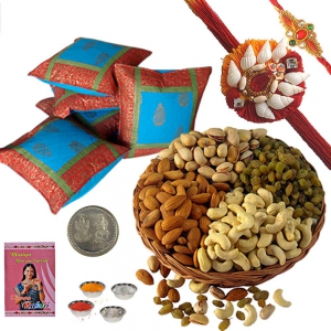Cotton Cushion Cover n 400Gm Dryfruit with Rakhi 101