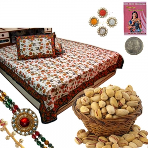 Gold Print Double Bed Sheet n Rakhi Dryfruit Box 102