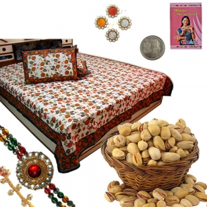 Double Bed Sheet n 200Gm Rakhi Dryfruit Pack 102