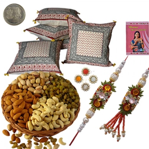 Cushion Cover Set n 400Gm Rakhi Dryfruit Gift 108