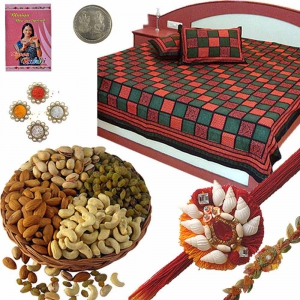 Jaipuri Double Bed Sheet n Fresh Rakhi Dryfruit 111