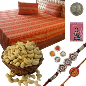 Jaipuri Double Bed Sheet n Rakhi Dryfruit Gift Set 113