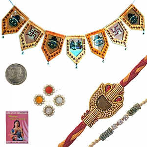 Send Jaipuri Artwork Rakhi n Door Hanging Gift 110