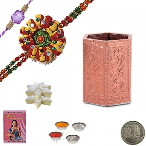 Send Rakhi n Metal Pen Stand with 400Gm Kaju Katli 154