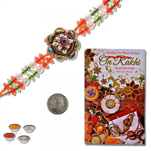 Rajasthani Fancy Design Rakhi n Greeting Card Gift 314