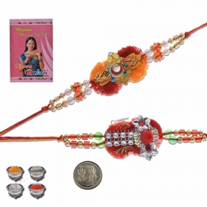 Ethnic Style Traditional Jaipuri Design Rakhi Pair Gift 407