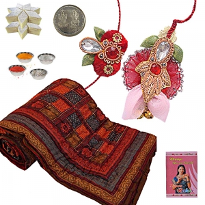 Double Bed Quilt Rakhi Hamper n 400Gm Kaju Katli 301