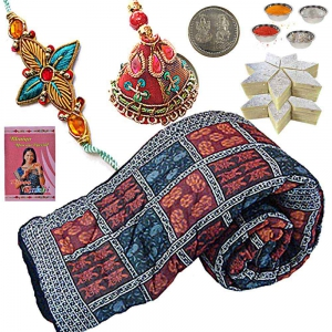 Cute Double Bed Quilt Rakhi Gift n 200Gm Sweet 316