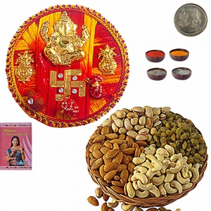 200Gm Assorted Dryfruit Collection n Rakhi Thali 101