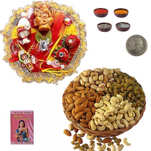 Send 200Gm Assorted Dryfruit n Rakhi Thali Gift 103