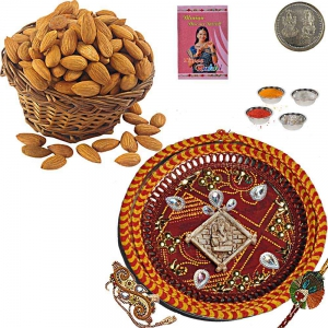 400Gm Selected Almond Dryfruit Pack n Rakhi Thali 106
