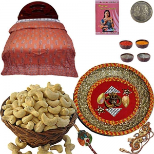 Cashew Nuts Dryfruit Double Bed Quilt n Puja Thali 109