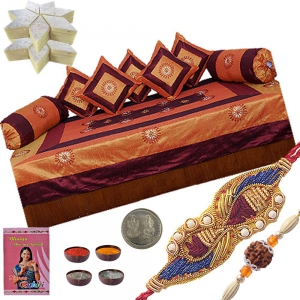 Send Jaipuri Silk Dewan Set Ethnic Rakhi Gift 304