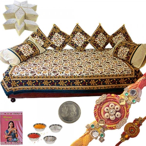 8 Pc. Dewan Set Rakhi Gift n 400Gm Kaju Katli 353
