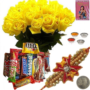 Yellow Rose n Chocolates Basket Express Rakhi Gift 119