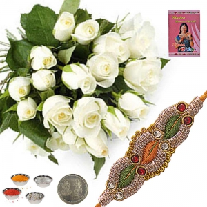 Exclusive Fresh White Roses Express Rakhi Gift 143