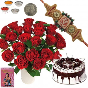 Black Forest Cake n Red Roses Express Rakhi Gift 136