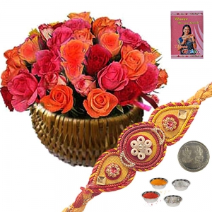 Pink n Peach Color Roses Basket Express Rakhi Gift 175