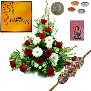 Beautiful Flowers n Chocolates Express Rakhi Gift 186