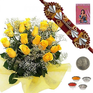 Dozen of Beautiful Yellow Roses Express Rakhi Gift 203