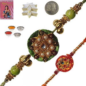 Fancy Rakhi Gifts to Brother n 400Gm Kaju Katli 102